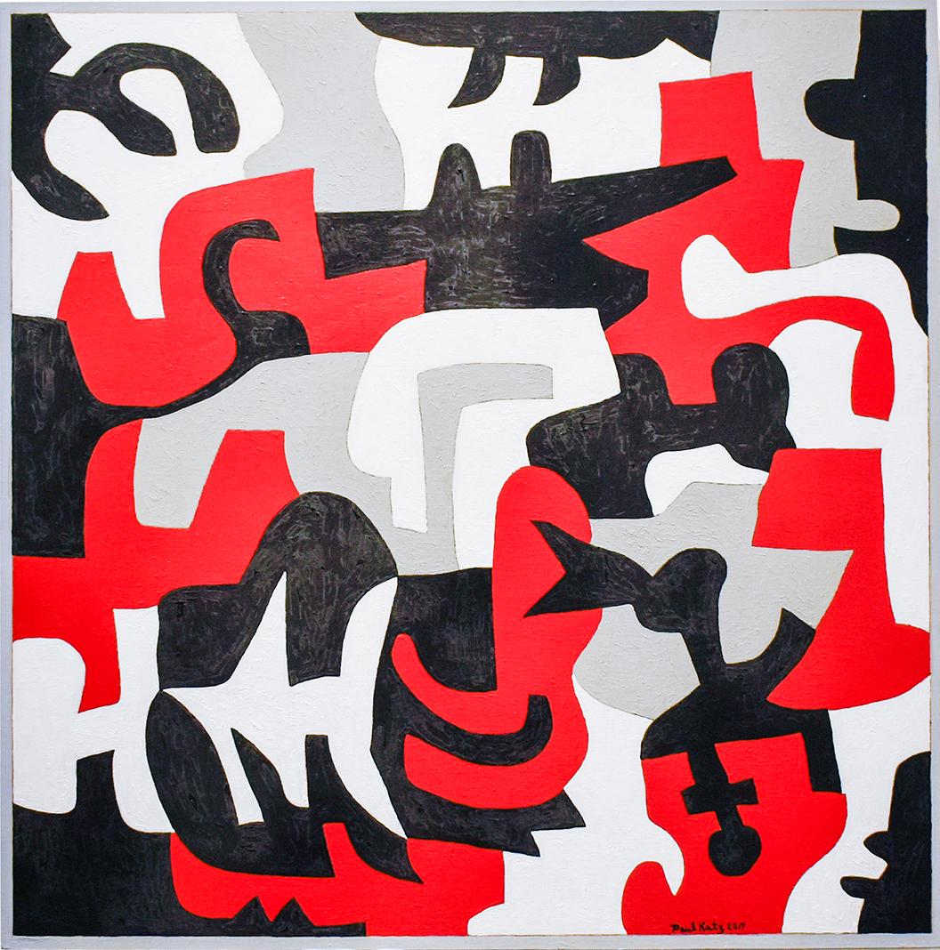 Interlock #53 (Graphic, Abstract Red, Grey, White & Black Painting on Canvas)