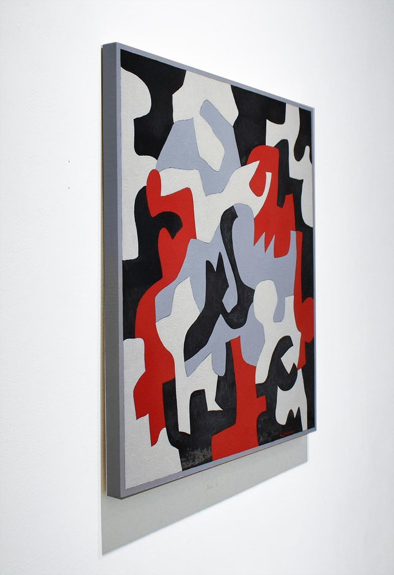 Interlock #57 (Graphic, Abstract Red, Grey, White & Black Painting on Canvas) For Sale 2