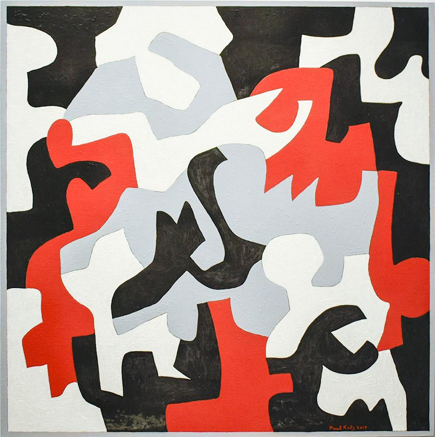 Interlock #57 (Graphic, Abstract Red, Grey, White & Black Painting on Canvas)