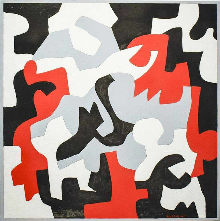 "Abstract geometric painting in white, black, grey and red on panel Interlock #57, 2017 24"" X 24""  oil on wood panel  This contemporary, abstract oil painting in graphic black, white, grey & red was completed by Vermont based artist, Paul Katz, in"