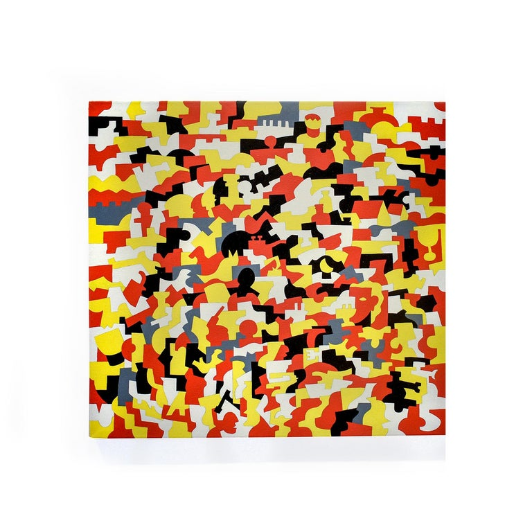 Abstract geometric painting on canvas in red, grey, white, yellow and black Kingsware, 1990 40 x 40 inches  oil on canvas  This square contemporary, abstract oil painting in graphic black, white, grey, yellow & red was completed by Vermont based