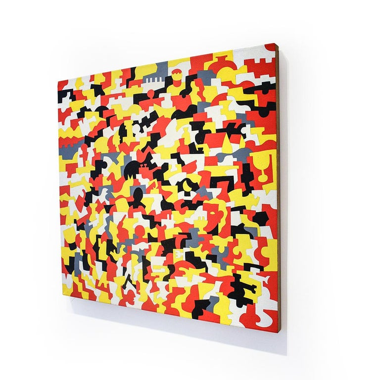 Kingsware (Abstract Geometric Painting on Canvas in Red, Yellow, White) For Sale 1