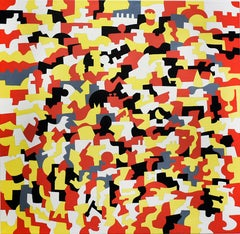 Kingsware (Abstract Geometric Painting on Canvas in Red, Yellow, White)