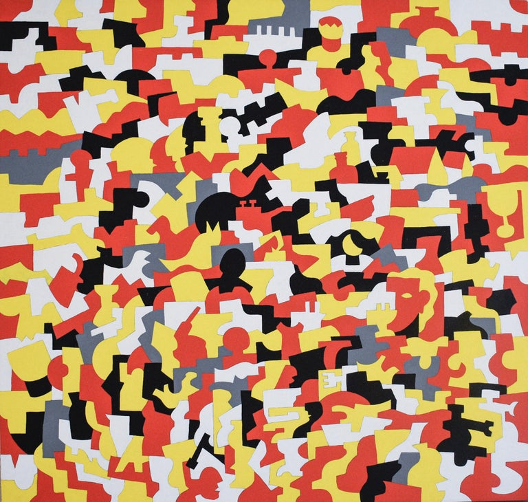 Paul Katz Abstract Painting - Kingsware (Abstract Geometric Painting on Canvas in Red, Yellow, White)