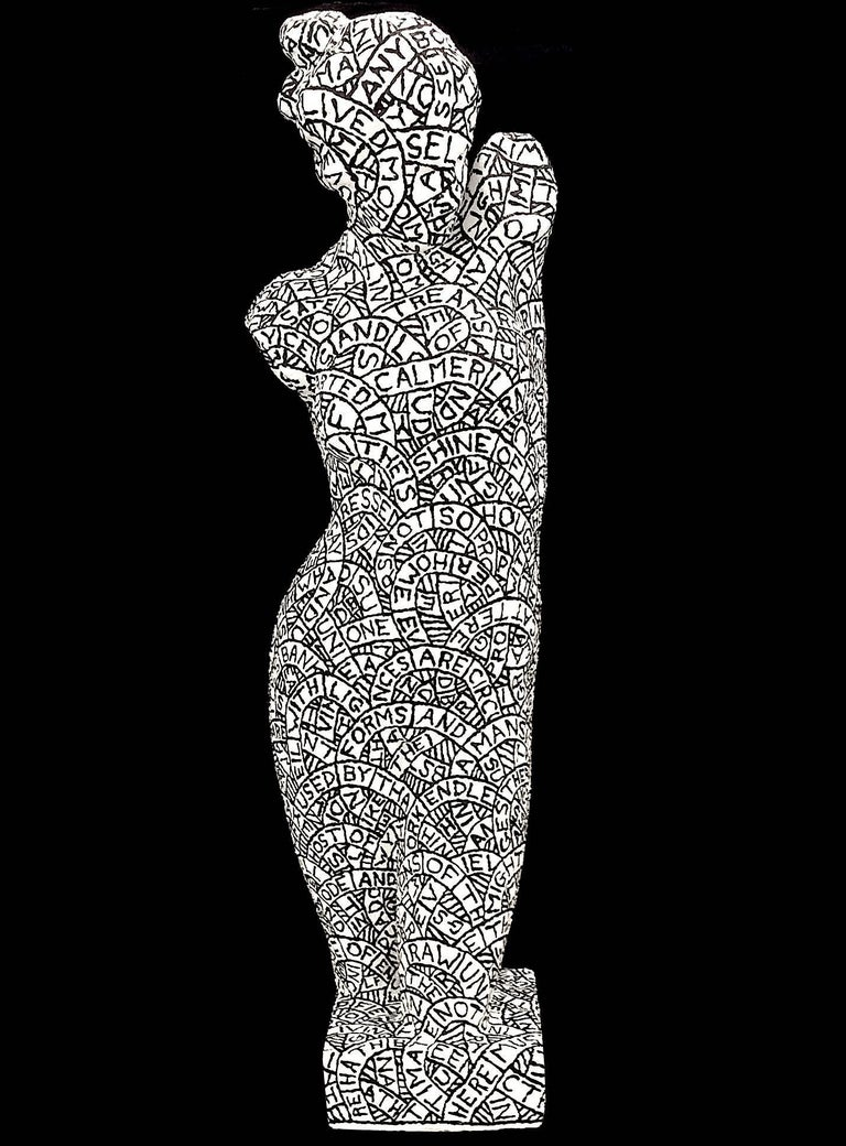 Prelude No. 261 (Black and White Plaster and Found Object Sculpture)