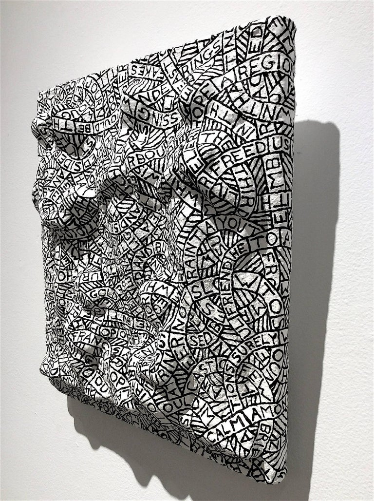 Prelude No. 89 (Black and White Plaster and Found Object Relief Sculpture) For Sale 1
