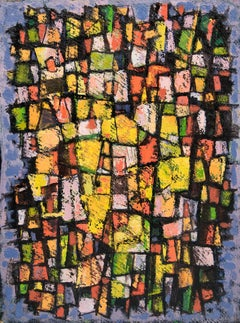Abstract Oil on Board Painting, Blue, Pink, Yellow, Black, Vertical Horizontal
