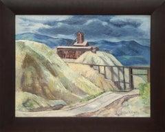 Colorado Mine, Vintage Mountain Landscape, Blue Green, Beige, Gray, Brown, Red