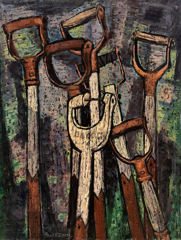 Shovel Handles, original vintage 1953 modernist oil painting on paper by mid 20th century Denver artist, Paul K. Smith. Semi-Abstract painting in colors of blue, green, pale yellow, cream, bronze, brown, blue and purple. Presented in a custom red