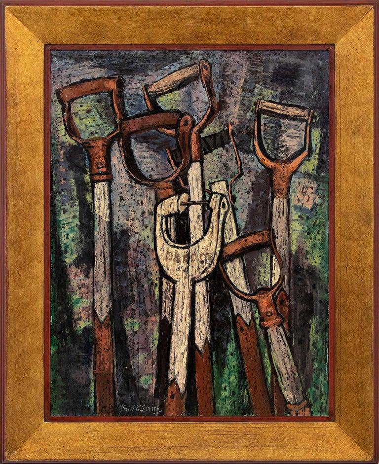 Paul Kauvar Smith Figurative Painting - Shovel Handles, American Modernist Painting, Green, Bronze, Blue, Creamy Yellow