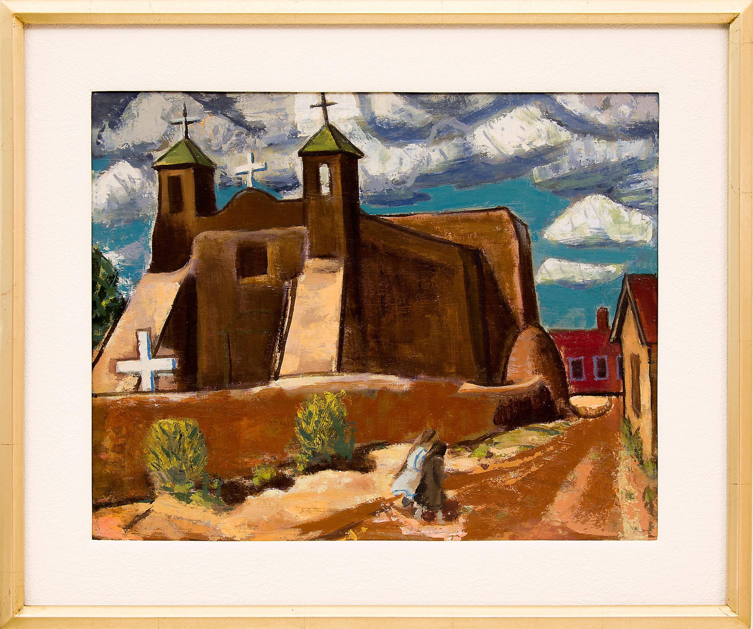 Untitled (Adobe Church, New Mexico, Original Modernist Landscape, circa 1940)