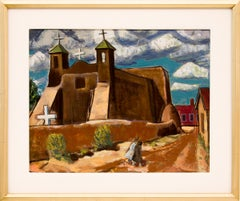 Untitled (Adobe Church, New Mexico, Original Modernist Landscape, circa 1940)