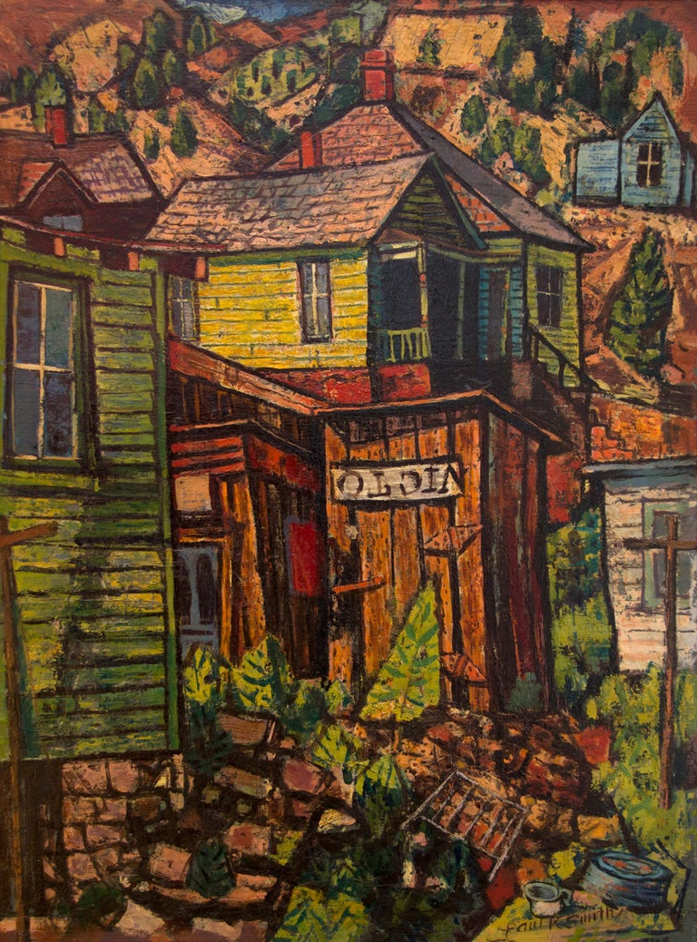Untitled (Colorado Mountain Town) - American Modern Painting by Paul Kauvar Smith