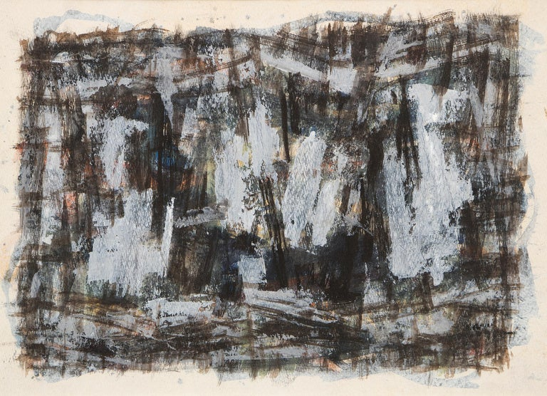 Untitled (1950s Abstract: Soft Gray, Brown, Blue, White, Black, Yellow & Orange) - Painting by Paul Kauver Smith