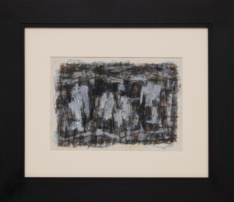 Paul Kauver Smith Abstract Painting - Untitled (1950s Abstract: Soft Gray, Brown, Blue, White, Black, Yellow & Orange)