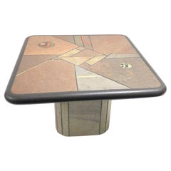 Paul Kingma End Table, Signed, Slate with Brass Inlay, 1980s Dutch