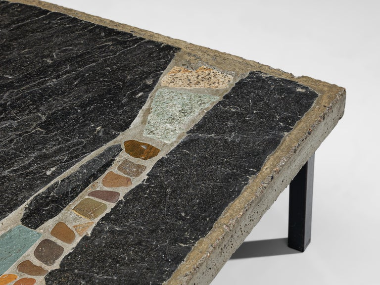 Paul Kingma Handcrafted Coffee Table in Slate and Ceramic 3