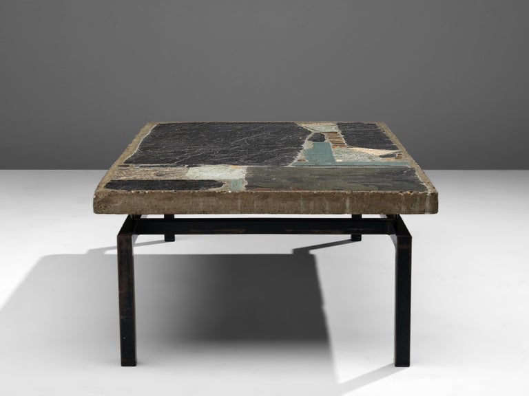 Paul Kingma Handcrafted Coffee Table in Slate and Ceramic 4