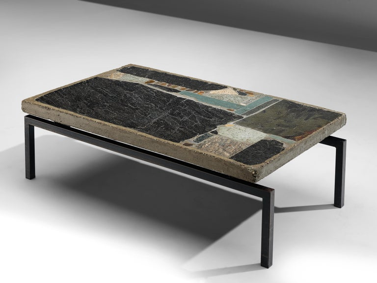 Paul Kingma, slate and ceramic tile coffee table, Netherlands, 1965