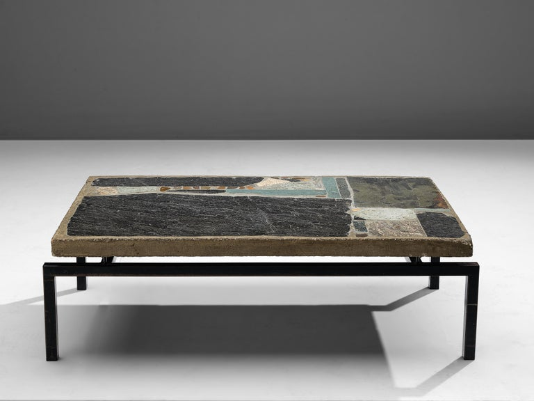 Dutch Paul Kingma Handcrafted Coffee Table in Slate and Ceramic