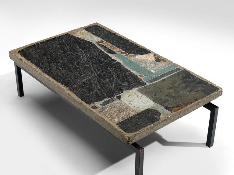 Paul Kingma Handcrafted Coffee Table in Slate and Ceramic In Good Condition In Waalwijk, NL
