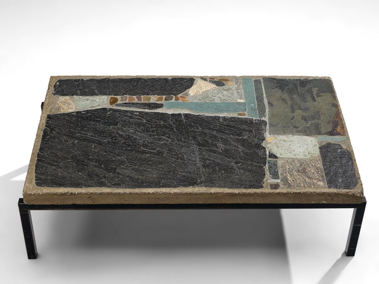 Metal Paul Kingma Handcrafted Coffee Table in Slate and Ceramic