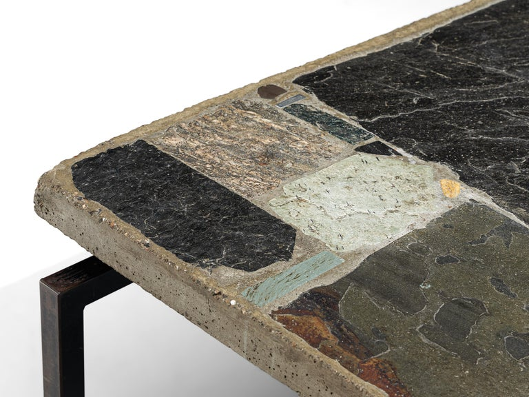 Paul Kingma Handcrafted Coffee Table in Slate and Ceramic 1