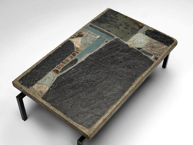 Paul Kingma Handcrafted Coffee Table in Slate and Ceramic 2