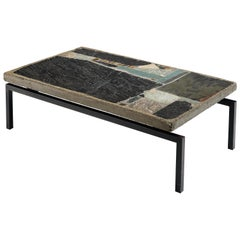 Paul Kingma Handcrafted Coffee Table in Slate and Ceramic