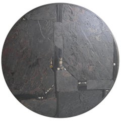 Paul Kingma Round Art Coffee Table in Slate, Grey and Black Stone, Brass Details