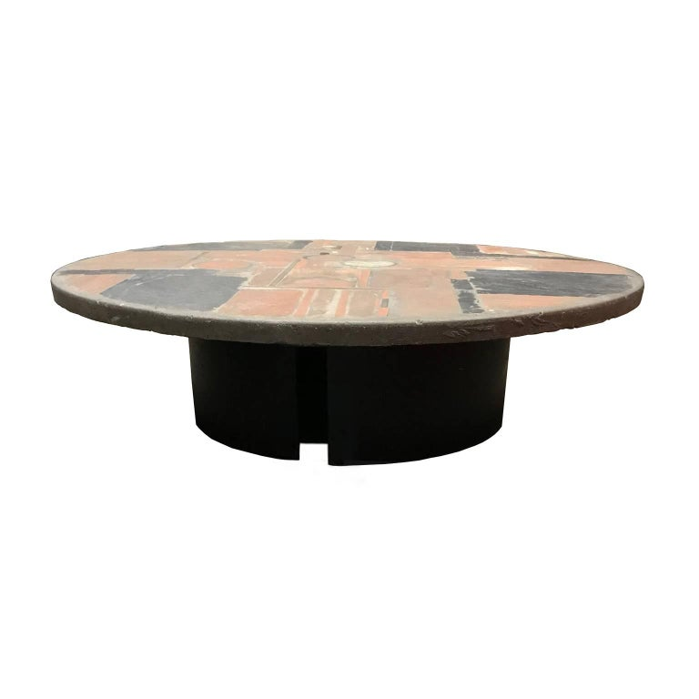 Round 3 Round Coffee Table Made Of Metal Cm ø80x23h: Paul Kingma Round Stone Coffee Table, 1970 For Sale At 1stdibs