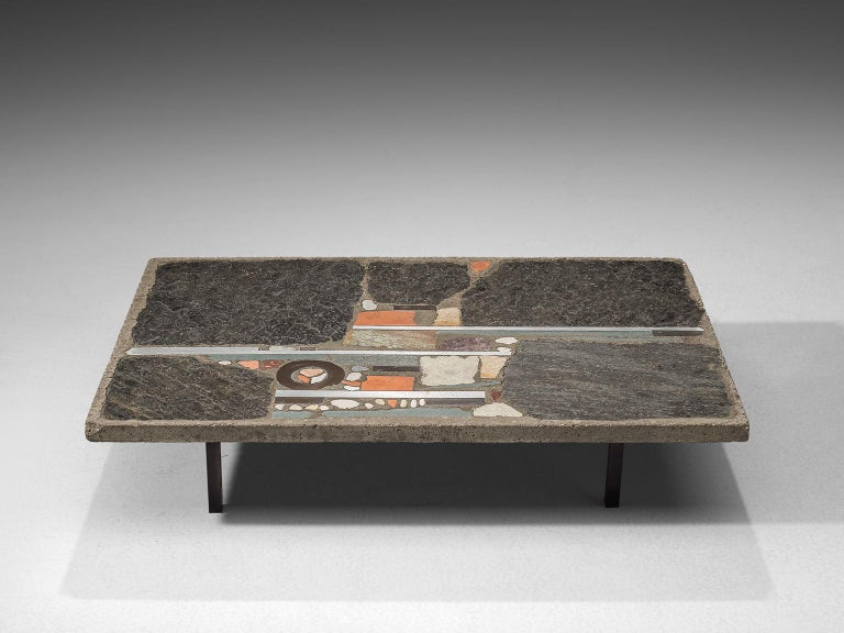 Paul Kingma, slate and ceramic tile coffee table, the Netherlands, 1980s. 