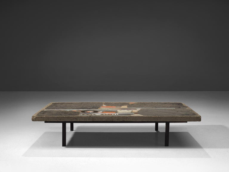 Brutalist Paul Kingma Slate and Ceramic Stone Coffee Table For Sale