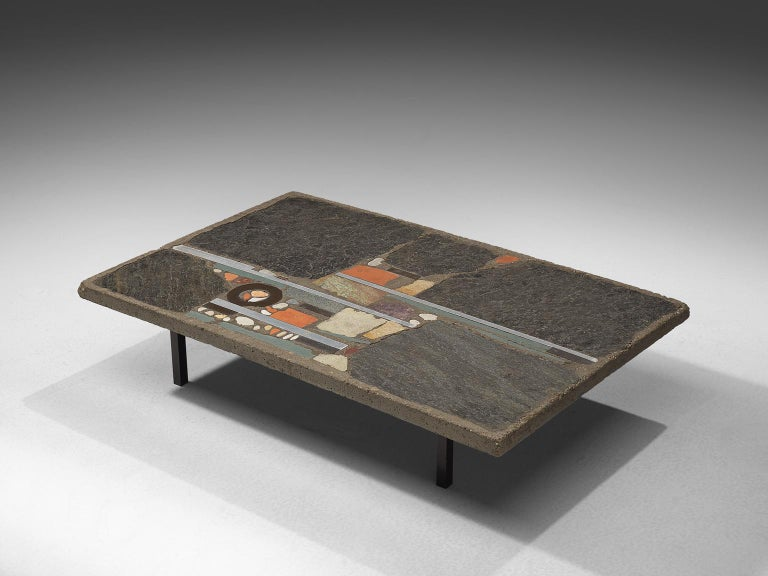 Belgian Paul Kingma Slate and Ceramic Stone Coffee Table For Sale