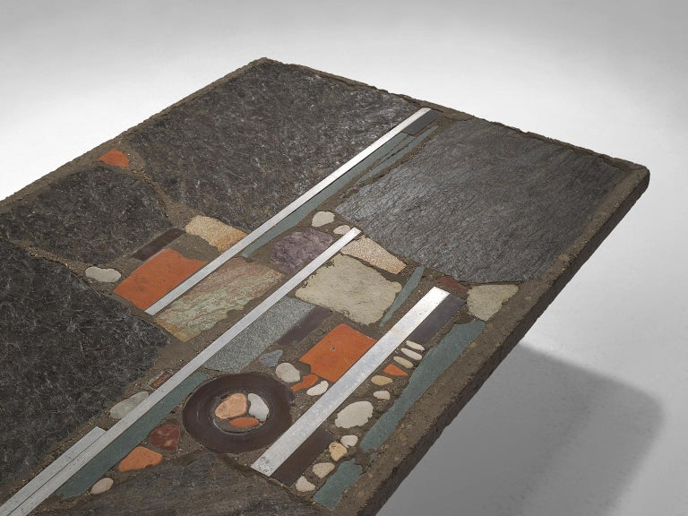 Late 20th Century Paul Kingma Slate and Ceramic Stone Coffee Table For Sale