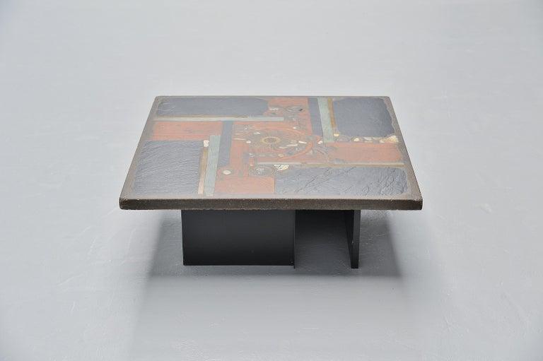 Mid-Century Modern Paul Kingma Square Coffee Table Slate Top, Holland, 1978 For Sale