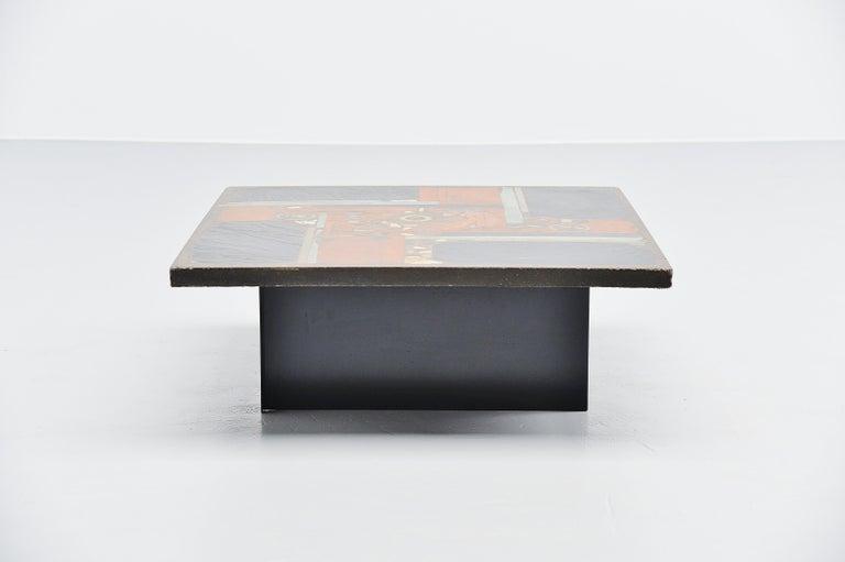 Dutch Paul Kingma Square Coffee Table Slate Top, Holland, 1978 For Sale