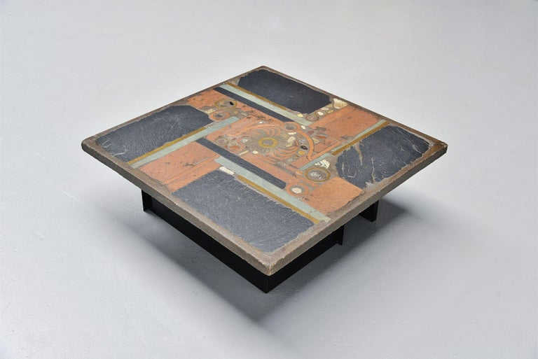 Cold-Painted Paul Kingma Square Coffee Table Slate Top, Holland, 1978 For Sale