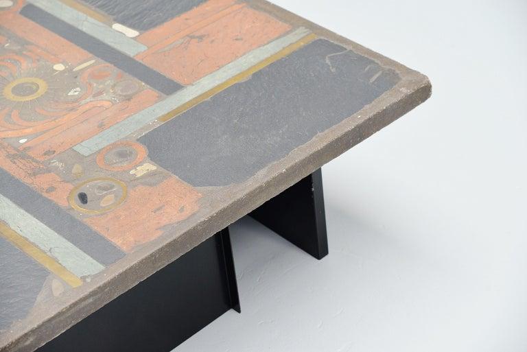 Metal Paul Kingma Square Coffee Table Slate Top, Holland, 1978 For Sale