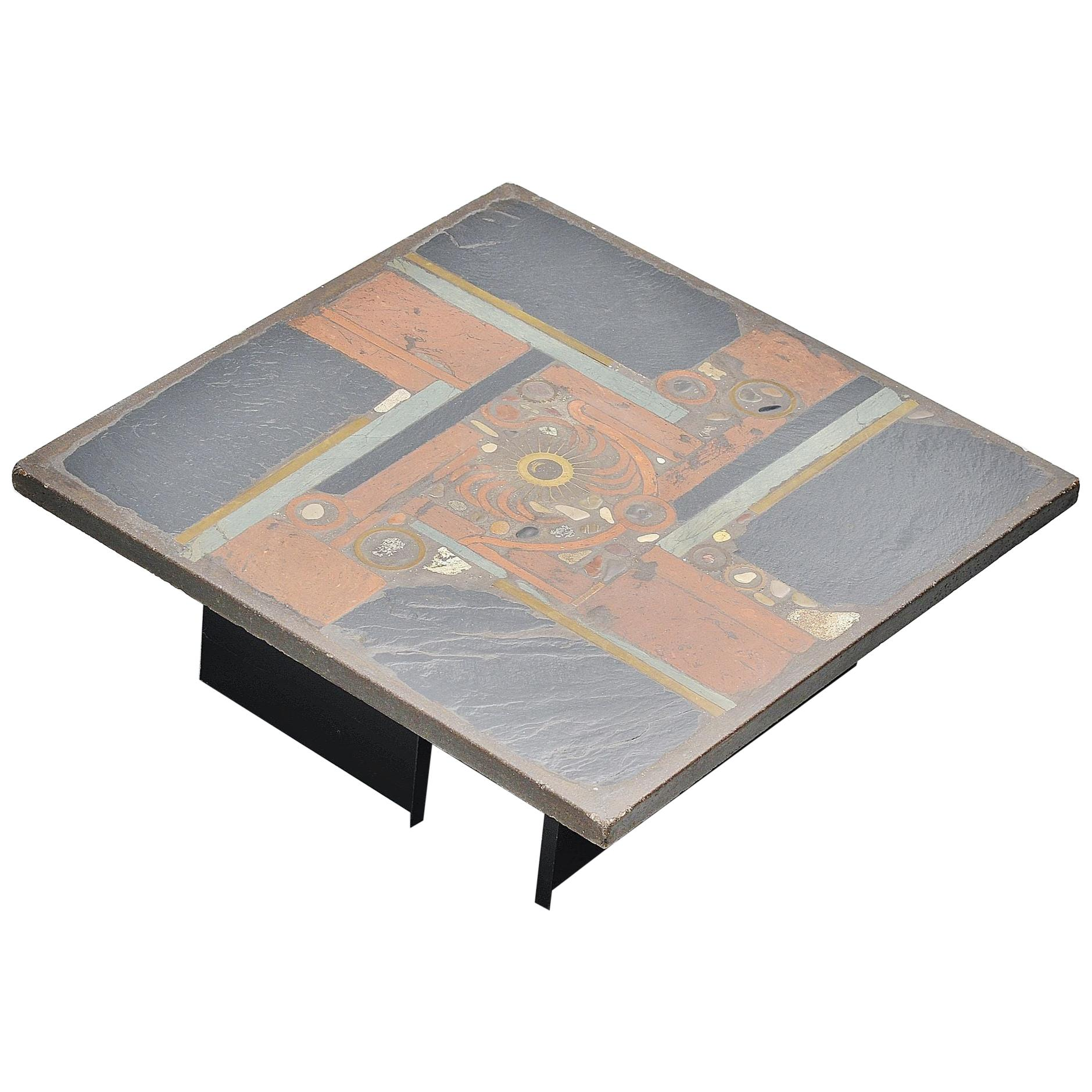 Paul Kingma Square Coffee Table Slate Top, Holland, 1978