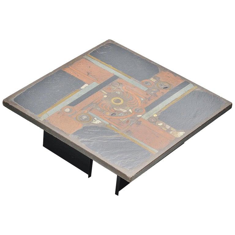 Paul Kingma Square Coffee Table Slate Top, Holland, 1978 For Sale