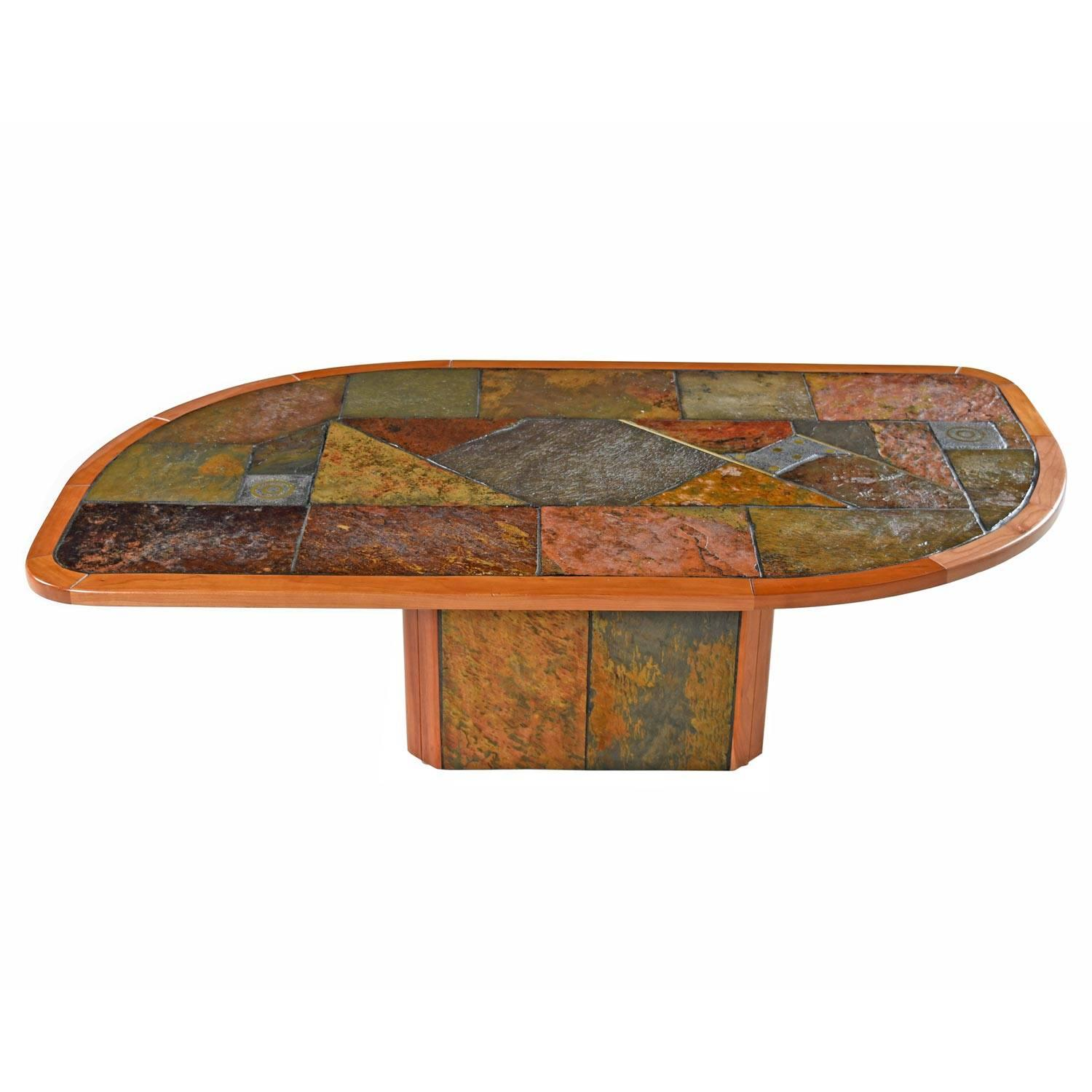 Paul Kingma Style Brutalist Pedestal Coffee Table By Slate Craft Ltd. S.  Africa For