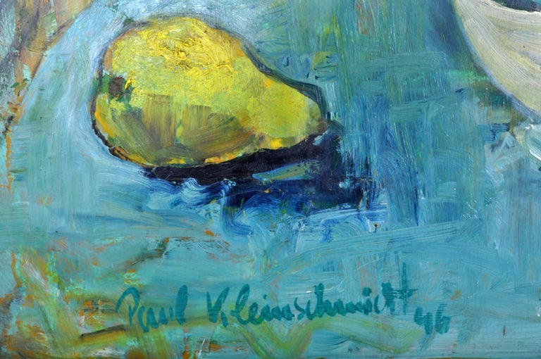 German Expressionist Oil on Board Still Life Painting by Paul Kleinschmidt 1946 For Sale 11