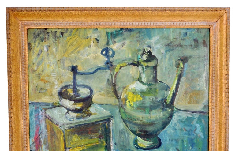German Expressionist Oil on Board Still Life Painting by Paul Kleinschmidt 1946 For Sale 2