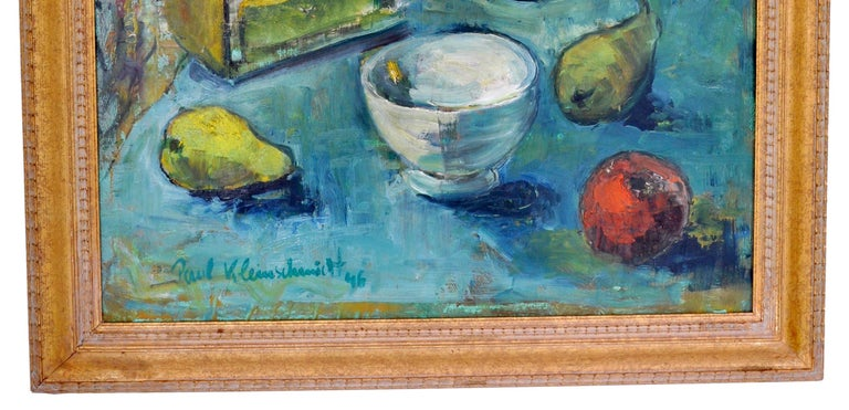 German Expressionist Oil on Board Still Life Painting by Paul Kleinschmidt 1946 For Sale 3
