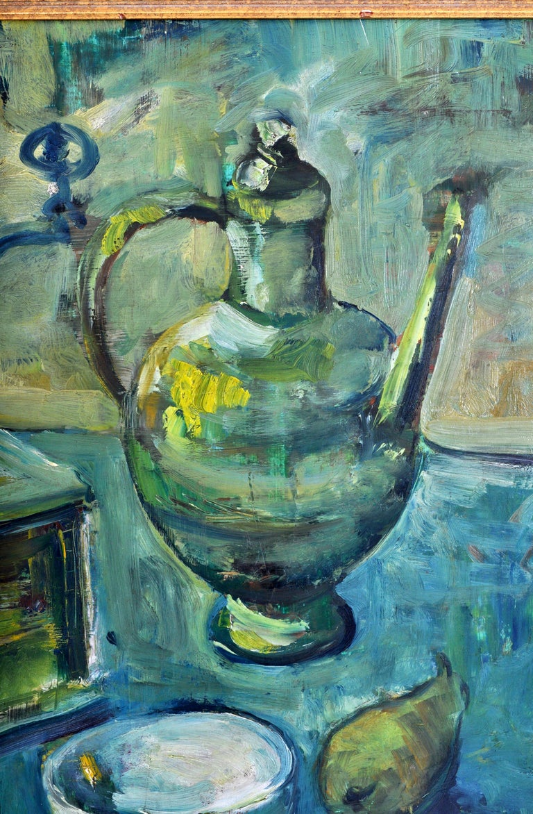 German Expressionist Oil on Board Still Life Painting by Paul Kleinschmidt 1946 For Sale 4