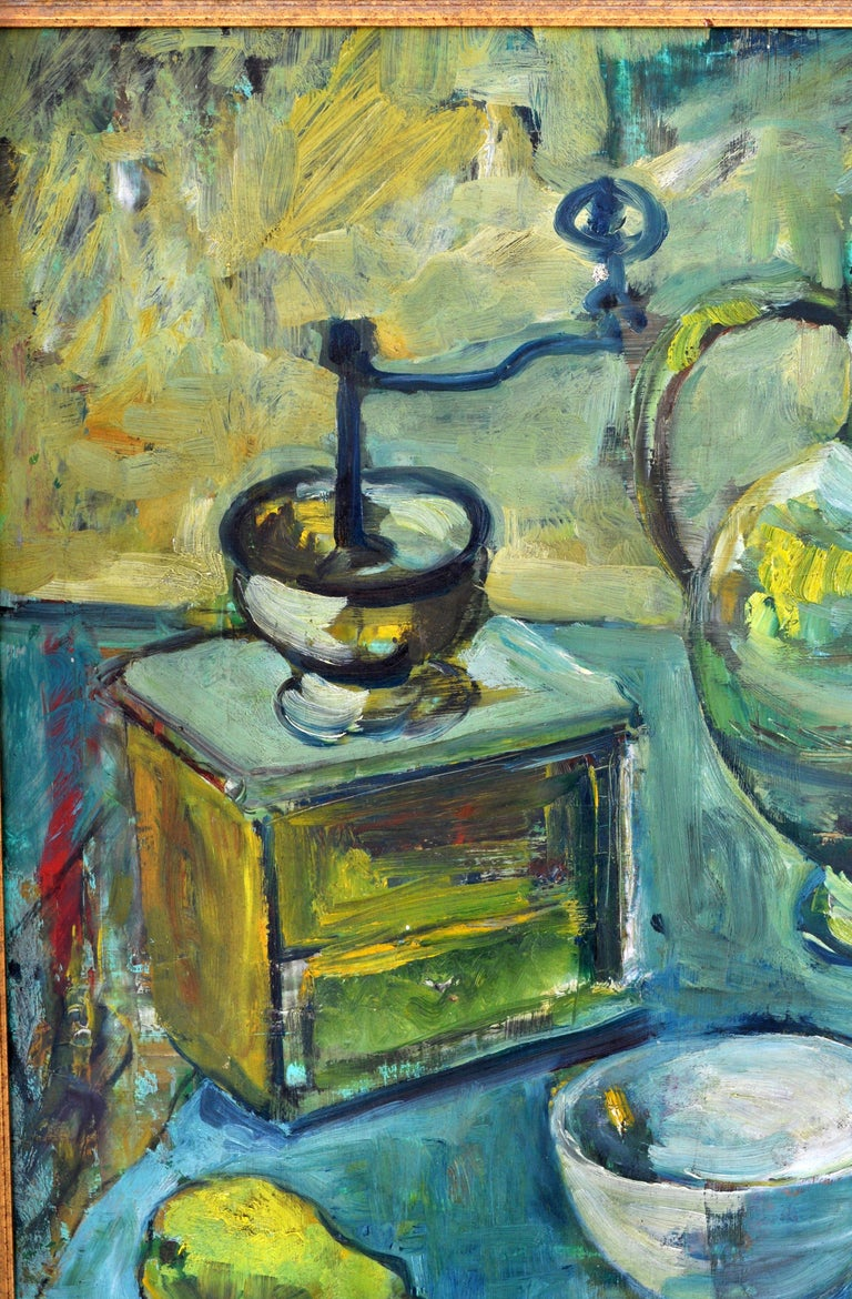 German Expressionist Oil on Board Still Life Painting by Paul Kleinschmidt 1946 For Sale 5