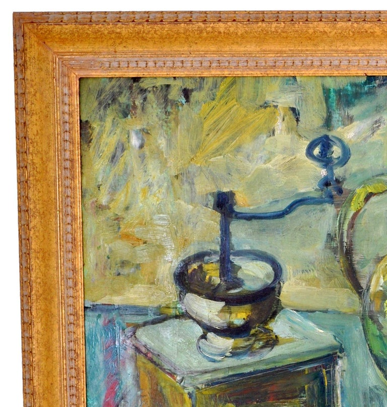German Expressionist Oil on Board Still Life Painting by Paul Kleinschmidt 1946 For Sale 6