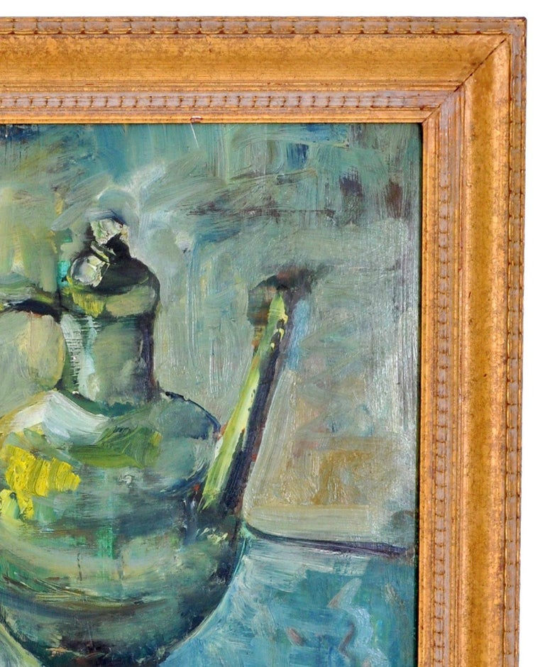 German Expressionist Oil on Board Still Life Painting by Paul Kleinschmidt 1946 For Sale 7