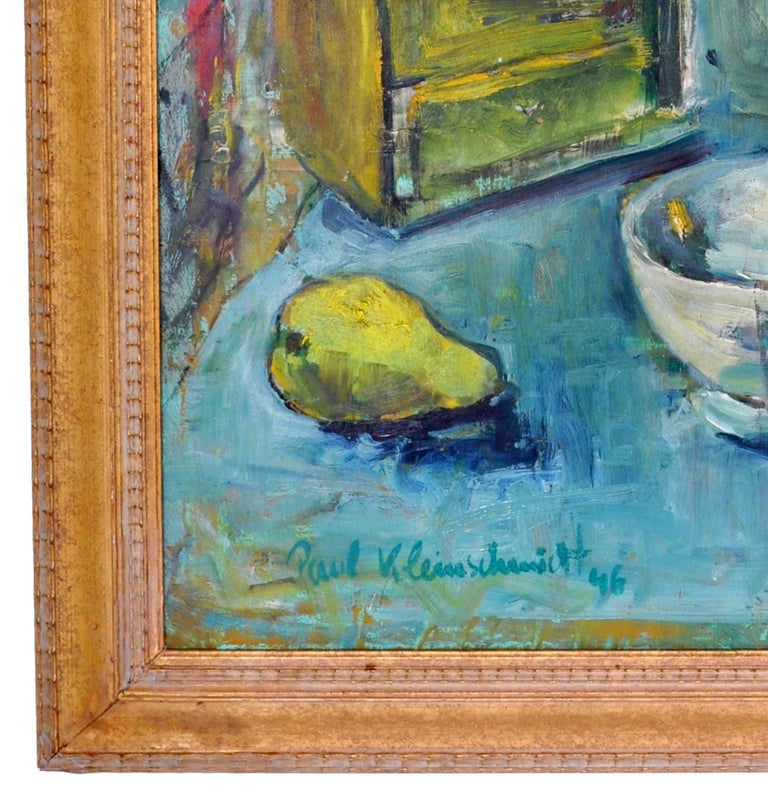 German Expressionist Oil on Board Still Life Painting by Paul Kleinschmidt 1946 For Sale 8